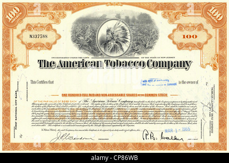 Historic stock certificate, detail, tobacco plantation and a Red Indian chief with headdress, The American Tobacco - Stock Image