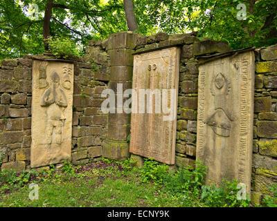 Abbey ruins of Disibodenberg near village of Staudernheim, where Saint Hildegard of Bingen lived, Rhineland-Palatinate, - Stock Image
