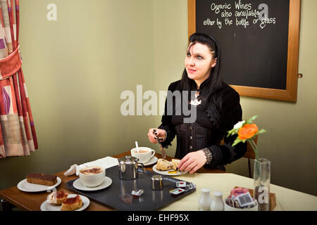 Having tea at Whitby Goth Weekender. - Stock Image