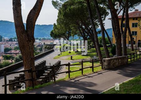 Park on the courtyard of Gorizia's Castle - Stock Image