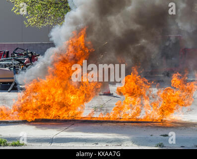 Fire pit for training firefighters, and frist responders. - Stock Image