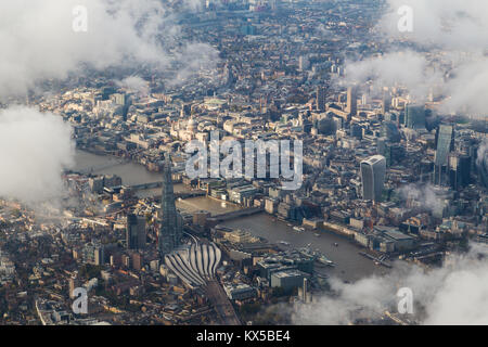 Aerial view of central London through clouds. - Stock Image