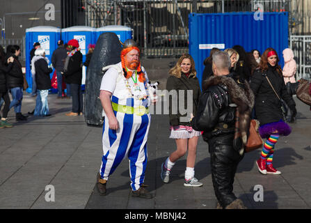 Man dressed up in Obelix carnival costume - Stock Image