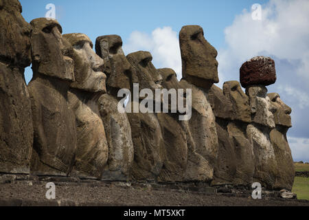 A row of restored moai heads at Ahu Tongariki on Easter Island - Stock Image