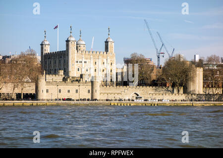 The Tower of London  from the south bank over the river Thames London England - Stock Image