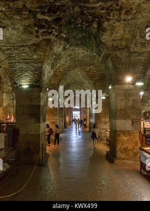 Podrum under Diocletian's Palace leading to Bronze Gate, Split, Croatia - Stock Image