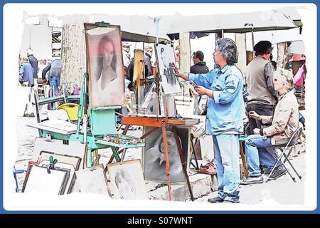Painters in Paris' Place du Tertre. - Stock Image
