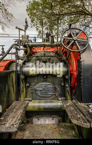 Old antique, vintage Advance-Rumely steam traction farm tractor cab or controls from the early 1900's on display in Montgomery Alabama USA. - Stock Image