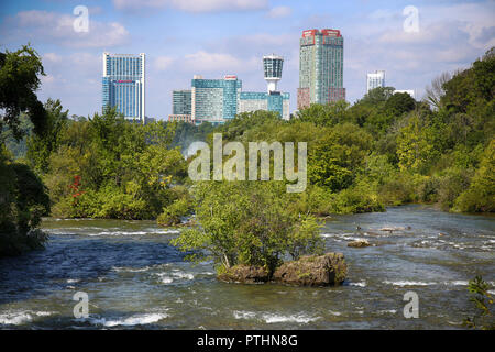 Niagara Falls, USA – August 29, 2018: Beautiful view of Niagara Falls the Canadian side with famous hotels across from the American side, New York Sta - Stock Image