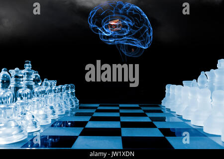 chess game played by human brain, artificial intelligence - Stock Image