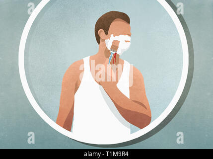 Man shaving his face, bleeding in mirror - Stock Image