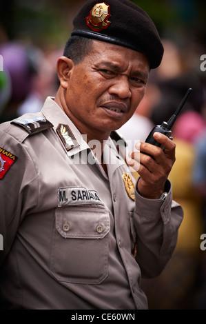 Indonesian policeman, Ubud Bali - Stock Image