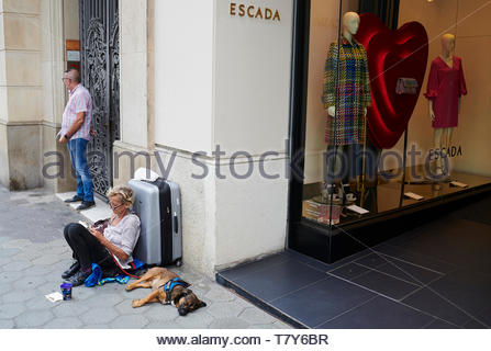 Begger with sleeping dog outside a shop on the  Street in the City of Barcelona in Catalunya in Spain in Europe - Stock Image