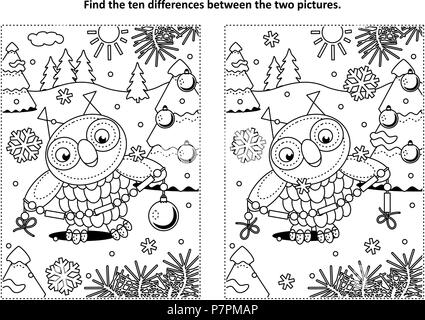 Winter holidays, New Year or Christmas themed find the ten differences picture puzzle and coloring page with owl holding glass beads garland - Stock Image