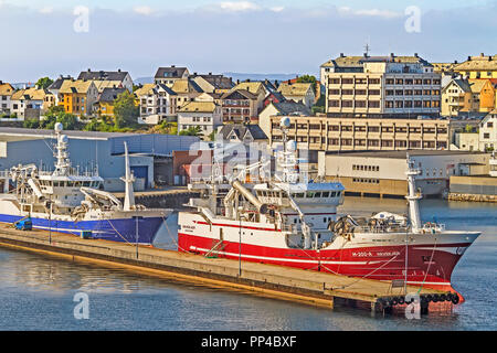 Fishing Vessels Docked At Alesund Norway - Stock Image
