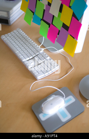 Post It Notes on Computer Monitor - Stock Image