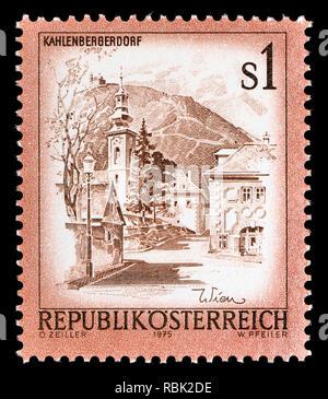 Austrian definitive postage stamp (1975) : Kahlenbergerdorf - Stock Image