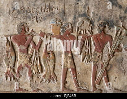 A photograph taken within the Tomb of Renni, the 'Overseer of the priests of Nekhbet' at the time of Amenhotep I at Elkab, situated 90 km to the south of Thebes. Amenhotep I was the second Pharaoh of the 18th dynasty of Egypt. His reign is generally dated from 1526 to 1506 BC. - Stock Image
