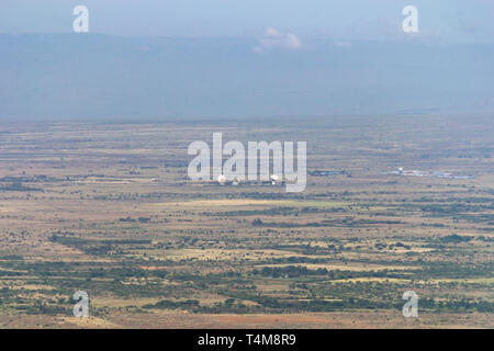 Longonot Earth Satellite Station in the Rift Valley on a sunny day, Kenya - Stock Image