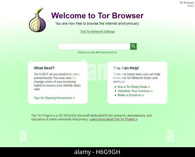 Start up screen for The Onion Browser, better know as 'Tor' that allows users to access the Internet anonymously. - Stock Image
