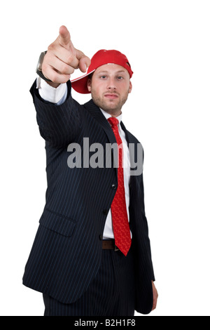 warning businessman on isolated baclground - Stock Image