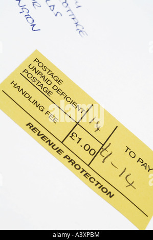 postage unpaid deficient postage - Stock Image