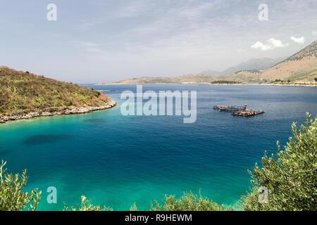 Vista Riviera Albania with fish farm - Stock Image