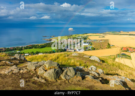 The Bass Rock and the eastern end of the town of North Berwick, from the summit of North Berwick Law, East Lothian, Scotland, UK - Stock Image