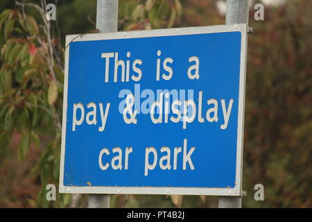 This is a pay and display car park sign - Stock Image