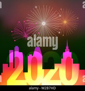Fireworks Over the Night City. Merry Christmas and Happy New Year 2020 Background, Template. Christmas Greeting Card. Vector Illustration. - Stock Image
