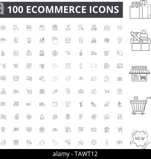 Ecommerce line icons, signs, vector set, outline illustration concept  - Stock Image