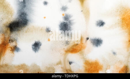 Abstract watercolor painting. Textured background. Splashes, stains and gradient fills of black, orange and brown paint on canvas. - Stock Image
