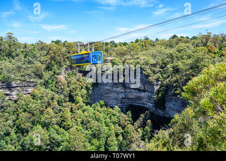 Scenic Skyway cable car at Scenic World tourist attraction, Katoomba, Blue Mountains National Park, New South Wales, Australia. - Stock Image