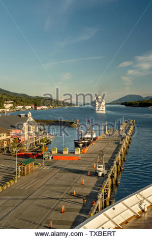 Sept 17, 2018 - Ketchikan, AK: Departing cruise ship heading southbound into Tongass Channel. - Stock Image