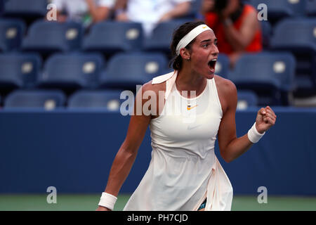 Flushing Meadows, New York - August 30, 2018: US Open Tennis:  Caroline Garcia of France celebrates a point during her second round victory over Monica Puig of Puerto Rico at the US Open in Flushing Meadows, New York. Credit: Adam Stoltman/Alamy Live News - Stock Image