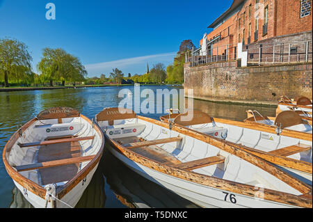 Rowing boats for hire, moored on the River Avon, Stratford upon Avon, Warwickshire awaiting use by tourists. - Stock Image