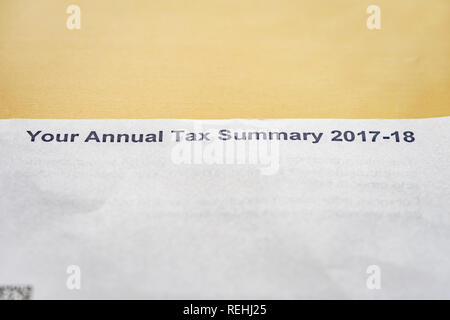 HMRC Annual Tax Summary 2017-18 letter - Stock Image