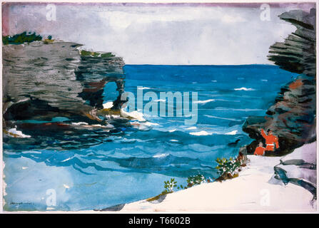 Winslow Homer, Rocky Shore, Bermuda, painting, 1900 - Stock Image