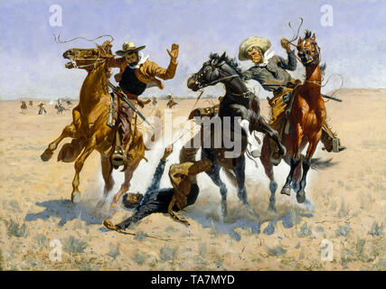 Frederic Remington, Aiding a Comrade, Wild West painting, 1890 - Stock Image