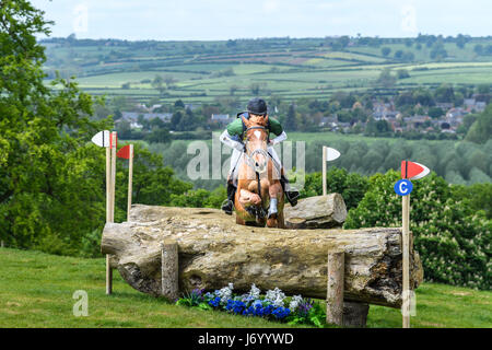 Simon Grieve on his horse Mr Fahrenheit III clears a tree trunk obstacle with the Welland valley in the background - Stock Image