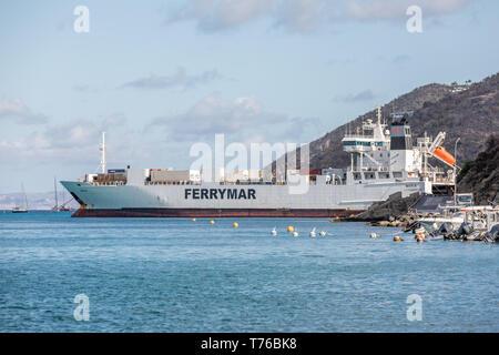 large cargo ship, Marin Luxmbourg in Gustavia, St Barts - Stock Image
