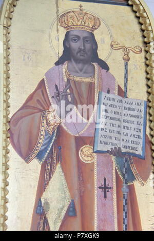 Religious paintings adorning the interior of the old Agios Andreas monastery at Peratata on the island of Kefalonia, GRECCE, PETER GRANT - Stock Image