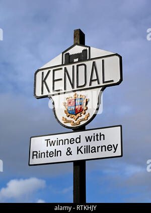 Kendal town boundary marker sign. Natland Road, Kendal, Cumbria, England, United Kingdom, Europe. - Stock Image