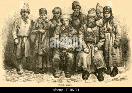 Russia, Northwestern, Petrozavodsk, Russian Sami people, image from: 'Das heutige Russland' (Russia today), published by H.v. Lankenau and L.v.d. Oelsnitz, publishing house Otto Spamer, Leipzig, 1876. , Additional-Rights-Clearance-Info-Not-Available - Stock Image