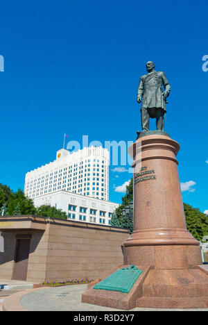Pyotr Stolypin memorial statue, in front of the White House, the government house, Moscow, Russia - Stock Image