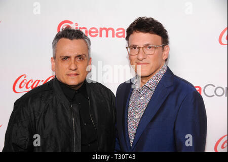 Las Vegas, USA. 04th Apr, 2019. (L-R) Joe Russo and Anthony Russo arrive for the 2019 CinemaCon Big Screen Achievement Awards at Omia nightclub at Caesars Palace in Las Vegas on April 4, 2019. Credit: The Photo Access/Alamy Live News - Stock Image