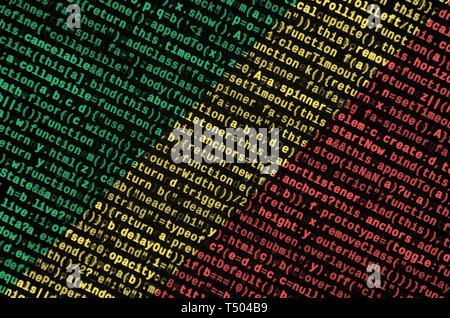 Congo flag  is depicted on the screen with the program code. The concept of modern technology and site development. - Stock Image