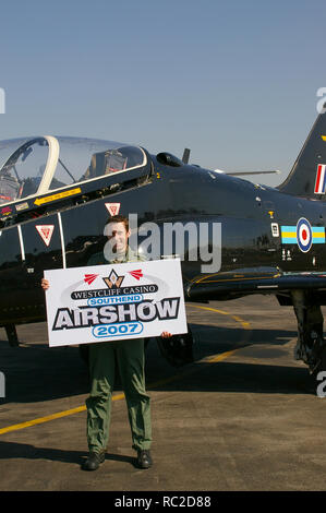 RAF Royal Air Force BAe Hawk T1 jet plane display pilot Flt Lt Mike Child at London Southend Airport to promote the 2007 Southend Airshow - Stock Image