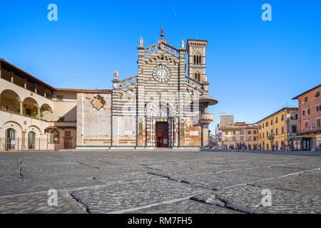 Prato, Italy. Exterior of Cathedral of Santo Stefano - Stock Image