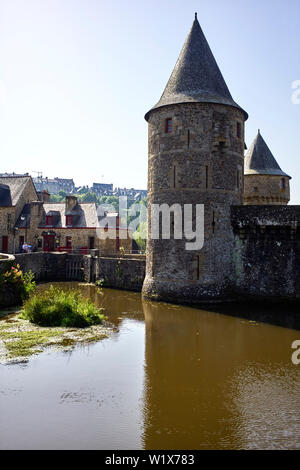 The entrance to the castle in Fougères in Brittany, France - Stock Image